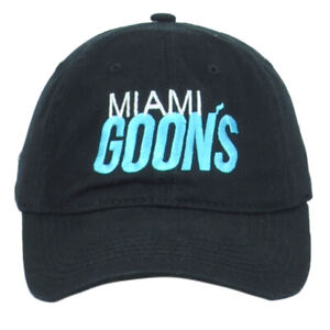 Miami Goons Basketball South Beach Colors Black Hat Cap Adjustable Curved Bill