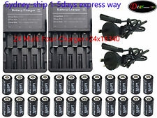 24 X3.7V CR123A 16340 Li-ion Rechargeable Battey Fit Ultrafire LED Torch AUSHIP