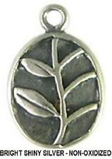 DH56s - 1 Bali .925 Bright Sterling Silver 2-sided Leaves / Vine Oval Charm