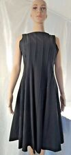 Calvin Klein Womens Black Boatneck Pleated Flared Midi Dress Lined Size 10