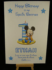 Personalised & Hand Made Mikey Mouse 1st Birthday Card Son, Grandson, Brother