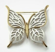 Vintage Designer Signed Crown Trifari Butterfly Brooch / Pin Gold Tone & White