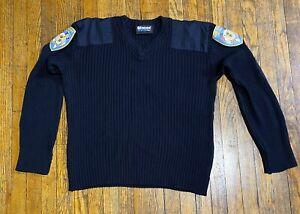 Blauer Mens Black Sweater Long Sleeve Crew Neck  Size L New Canaan Fire Dept Pat