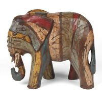 Elephant Hand Carved And Painted Shabby Chic Fairtrade Item 19cm