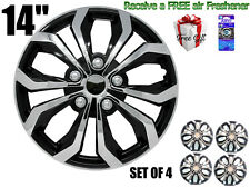 """14"""" inch Hubcaps CAR+ """"SPA"""" ABS CHROME AND BLACK Easy to install Set of 4 pieces"""