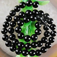 "4mm Natural Black Agate Gemstone Round Loose Beads 15"""
