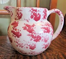 Vintage BYBEE Pottery Rose Red White Large Spongware Pitcher, Ball Shaped