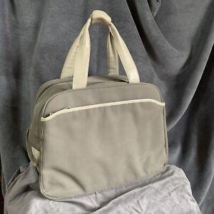 Vintage Radley bag laptop computer bag sage green nylon cream leather