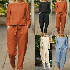 Women Solid Cotton Linen Sets Elegant O Neck Shirt Drawstring Casual Outfits NEW