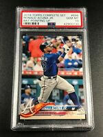 RONALD ACUNA 2018 TOPPS #698 COMPLETE SET BAT POINTING UP ROOKIE RC PSA 10 (A)