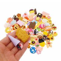20pcs Flatback Resin Cakes Cookies Dessert Food Cabochons Decors Random 5-50mm