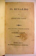 1801 TASSO IL RINALDO NARDINI+1813 RENAUD POESIE 12CHANTS POEM LIVRE ITALIE BOOK