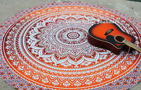 Hippie Indian Ombre Mandala Round Roundie Throw Bohemian Tapestry Beach Yoga Mat