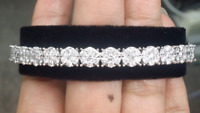 Deal! 3.15 CT Natural 100% Genuine Cluster Diamond Tennis Bangle Bracelet 14KT