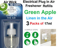 Air Wick 3 x 17ml Electrical Plug in Air Freshener Refill Linen in the Air GREEN