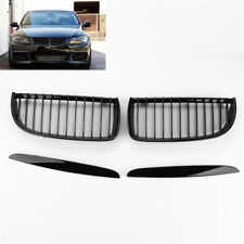 New Pair Gloss Black Front Kidney Grilles for E90 E91 Saloon 4D 2005-2008 BMW
