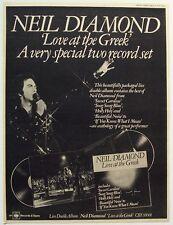 NEIL DIAMOND 1977 original POSTER ADVERT LOVE AT THE GREEK