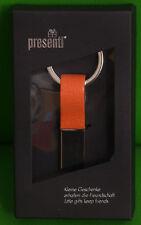 Metall Schlüsselanhänger  Taschenanhänger  silber / Leder Orange