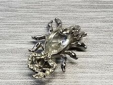 Vintage Scorpion Brooch Silvertone Clear Rhinestone Designer Signed Pin