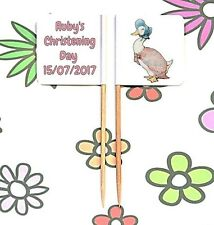 24 Personalised CHRISTENING Jemima Puddleduck FLAG PICK Cake Topper Decoration