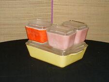 Pyrex Refrigerator Dish set 8 pc 0501,501B,503 Pink,Red,yellow.
