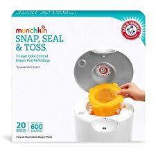 20 X Munchkin Arm Hammer Diaper Pail Snap Seal Toss Refill Bags Holds 600
