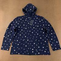 Karen Scott Women's Size XL Navy White Stars Print Hooded Full Zip Jacket NWT