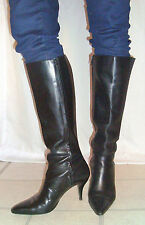 SEXY HOOKER - DRAG QUEEN Stiletto Heel Black Leather Boots - Excellent 7 1/2 M