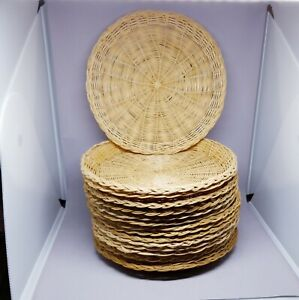 16 Woven Wicker Paper Plate Holders Rattan Bamboo Natural Wall Decor Picnic 9.5""