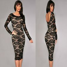Sz 10 12 Black Lace Long Sleeve Formal Prom Cocktail Party Club Slim Midi Dress