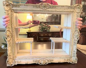 """Antique Victorian Ornate Wooden Mirror With Display Shelves 24"""" Wide Shadow Box"""