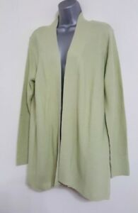 NEW Ex Bon Marche: Pale Green Lime Ribbed Knitted Cardigan Jumper Size S/M/L/XL