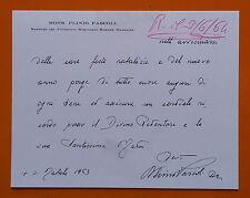 Roma 1963: Biglietto augurale Autografo del Mons. Plinio Pascoli