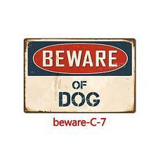 Metal Sign Warning Beware of Dog Bar Club Store Shop Wall Home Garage Cave Art