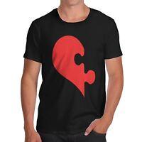 Men's Premium Cotton Funny Love Heart Puzzle Print T-Shirt
