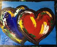Modern Original Oil Painting  MUSIC CANVAS HEARTS  Large Abstract