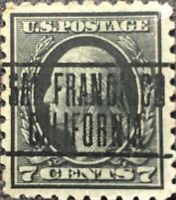 Scott #430 1914 US 7 Cent Washington Precancel Postage Stamp Perf 10