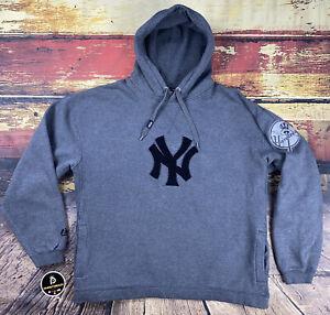 Mens L Vintage New York Yankees Hoodie Sweatshirt Reverse Weave Chenille Patch