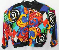 Vtg 80s Frantik Multicolor Abstract Padded Jacket Size Medium