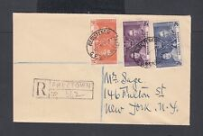 SIERRA LEONE 1937 CORONATION REGISTERED FDC FREETOWN TO NEW YORK