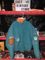 Vintage Dolphins NFL Triple FAT Goose Embroidered Tuckaway Hood Jacket SIZE LG