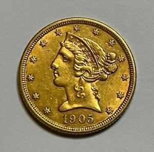 1905-P $5 Gold Liberty Head Half Eagle Coin, 7 Days Auction