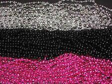 36 (3 DOZEN) PINK/BLACK/SILVER MARDI GRAS BEADS-PARTY