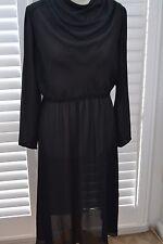 Charlotte Ford Don Sophisticates Vintage 70s Sheer Black Dress Goth - Size 10