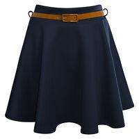 New Womens Ladies Flared Wavey Waist Belted Plain Mini Skater Skirt Size UK 8-14