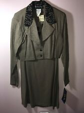 NWT ALL THAT JAZZ 2 pc DRESS & COAT, Taupe W/black Lace, Size 13/14