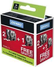 Dymo Confezione 2 1 Nastro D1 12x7 Nero Bianco
