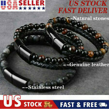 Men Classic Tiger Eye Natural Gem Stone Beaded Healing Bracelet Jewelry Leather