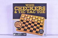 Cardinal Games Wood Checkers & Tic Tac Toe Game Board