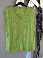 R ROCKMANS Lime Fluro Green Short Cap Sleeve Tunic Top Blouse Cut Out Trim 16